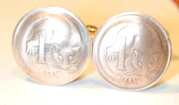 Cufflinks Australia enamel Sterling silver Coin.Mens gift.Big Size coin